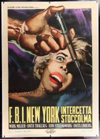 6r107 BLONDE IN BONDAGE linen Italian 2p '60 wild Symeoni art of girl scared of hypodermic needle!