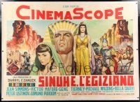 6r111 EGYPTIAN linen Italian 2p '55 Dante Manno art of Jean Simmons, Victor Mature & Gene Tierney!