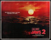 6r005 JAWS 2 linen subway poster '78 classic art of man-eating shark's fin in red water at sunset!