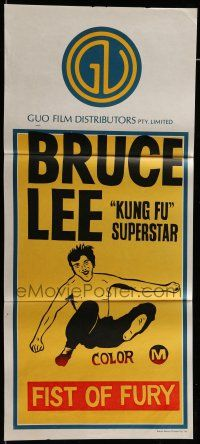 6s833 FISTS OF FURY 2nd printing Aust daybill R70s art of kung fu master Bruce Lee Fist of Fury