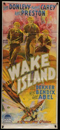 6s985 WAKE ISLAND Aust daybill 42 Richardson Studio art of Donlevy Carey Preston
