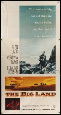 6w431 BIG LAND 3sh '57 Alan Ladd, Virigina Mayo, a bullet couldn't cut the big land down to size!