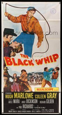 6w433 BLACK WHIP 3sh '56 what was the secret HORROR of this strange killer of the West?