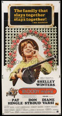 6w435 BLOODY MAMA int'l 3sh '70 Roger Corman, AIP, crazy Shelley Winters with cigar and tommy gun!