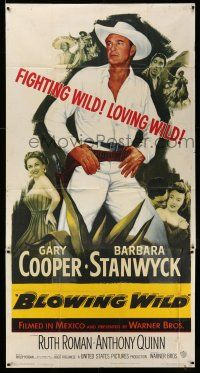 6w436 BLOWING WILD 3sh '53 cowboy Gary Cooper, Barbara Stanwyck, Ruth Roman, Anthony Quinn!