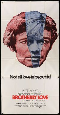 6w439 BROTHERLY LOVE 3sh '70 Susannah York, Peter O'Toole, Not all love is beautiful!