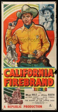 6w445 CALIFORNIA FIREBRAND 3sh '48 great close up art of Monte Hale + riding on horseback!