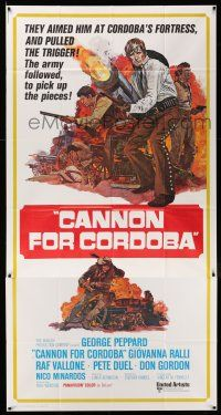 6w447 CANNON FOR CORDOBA int'l 3sh '70 cool art of George Peppard with huge gun in battle!