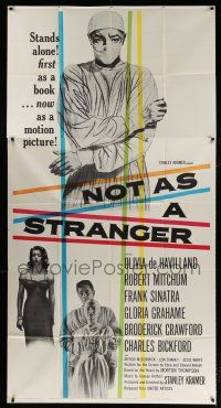 6w601 NOT AS A STRANGER 3sh '55 doctor Robert Mitchum, Olivia De Havilland, Frank Sinatra!