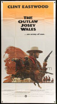 6w607 OUTLAW JOSEY WALES int'l 3sh '76 Clint Eastwood is an army of one, best different art!