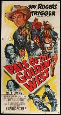 6w608 PALS OF THE GOLDEN WEST 3sh '51 great artwork of Roy Rogers, Trigger & Dale Evans!