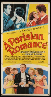 6w609 PARISIAN ROMANCE 3sh '32 Lew Cody & Gilbert Roland in love triangle, great stone litho!
