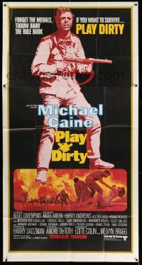 6w612 PLAY DIRTY int'l 3sh '69 cool art of WWII soldier Michael Caine with machine gun!