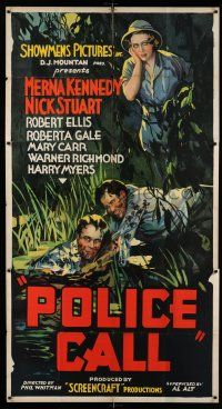 6w614 POLICE CALL 3sh '33 Nick Stuart, who looks like Bruce Hershenson, saves man in swamp!