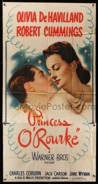 6w615 PRINCESS O'ROURKE 3sh '43 romantic close up of Olivia de Havilland & Robert Cummings!