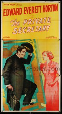 6w616 PRIVATE SECRETARY 3sh '35 stone litho of Edward Everett Horton greeting pretty lady!