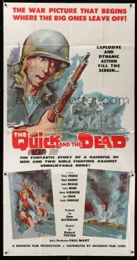 6w618 QUICK & THE DEAD 3sh '63 truly great war artwork of soldiers on beachfront!