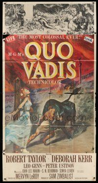 6w619 QUO VADIS 3sh '51 completely different art of Deborah Kerr bound in the Coliseum!