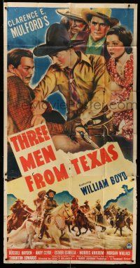 6w665 THREE MEN FROM TEXAS 3sh '40 great images of William Boyd as cowboy hero Hopalong Cassidy!