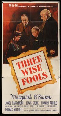 6w668 THREE WISE FOOLS 3sh '46 Margaret O'Brien is adopted by Lionel Barrymore, Stone & Arnold!