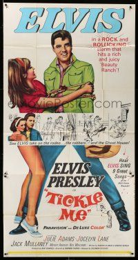 6w672 TICKLE ME int'l 3sh '65 great life-sized image of Elvis Presley & sexy Julie Adams!