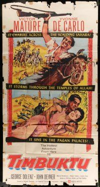 6w675 TIMBUKTU 3sh '59 art of Victor Mature & Yvonne De Carlo, directed by Jacques Tourneur!