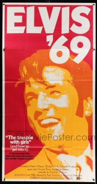 6w682 TROUBLE WITH GIRLS 3sh '69 great gigantic close up art of smiling Elvis Presley!