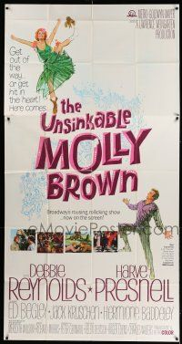 6w684 UNSINKABLE MOLLY BROWN 3sh '64 great images & art of pretty Debbie Reynolds, Titanic!