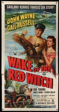 6w691 WAKE OF THE RED WITCH 3sh R52 art of barechested John Wayne & Gail Russell at ship's wheel!