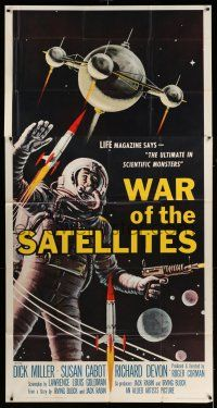 6w692 WAR OF THE SATELLITES 3sh '58 the ultimate in scientific monsters, cool astronaut art!