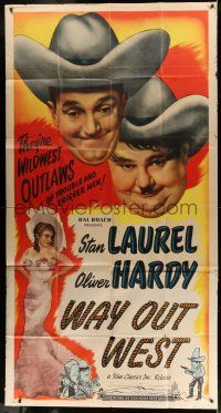 6w696 WAY OUT WEST 3sh R47 Stan Laurel & Oliver Hardy are wildwest outlaws of trouble!
