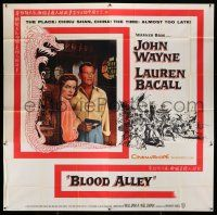 6w133 BLOOD ALLEY 6sh '55 John Wayne & Lauren Bacall in China, directed by William Wellman!