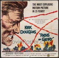 6w196 PATHS OF GLORY 6sh '58 Stanley Kubrick, great intense artwork of Kirk Douglas in WWI!