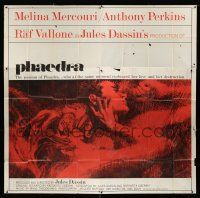 6w197 PHAEDRA int'l 6sh '62 great artwork of sexy Melina Mercouri & Anthony Perkins, Jules Dassin