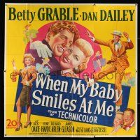 6w231 WHEN MY BABY SMILES AT ME 6sh '48 stone litho image of sexy Betty Grable & Dan Dailey!