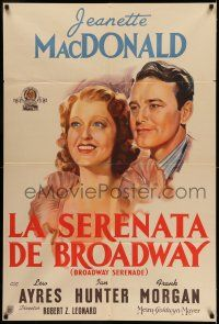 6w268 BROADWAY SERENADE Argentinean '39 great artwork portrait of Jeanette MacDonald & Lew Ayres!