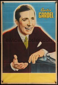 6w271 CARLOS GARDEL Argentinean '30s great stone litho art of the French Argentine singer!