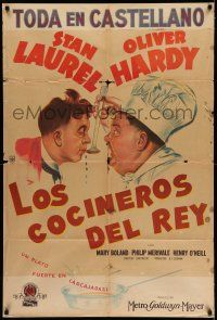 6w347 NOTHING BUT TROUBLE Argentinean '45 great different art of Stan Laurel & chef Oliver Hardy!