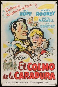 6w352 OFF LIMITS Argentinean '53 different art of Bob Hope & Mickey Rooney in boxing ring!