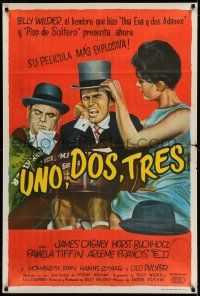 6w353 ONE, TWO, THREE Argentinean '62 Billy Wilder, different art of James Cagney, Buccholz & Tiffin