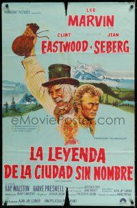 6w355 PAINT YOUR WAGON Argentinean '69 art of Clint Eastwood, Lee Marvin & pretty Jean Seberg!