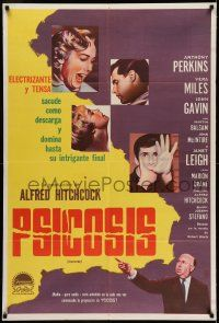6w361 PSYCHO Argentinean '60 Janet Leigh, Perkins, Alfred Hitchcock shown, different!