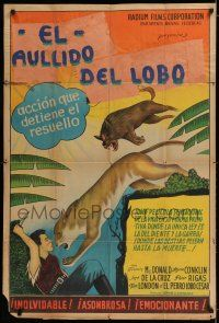 6w390 TRAILING THE KILLER Argentinean '32 great artwork of dog saving man from mountain lion!