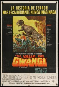 6w395 VALLEY OF GWANGI Argentinean R70s Ray Harryhausen, great art of cowboys battling dinosaurs!