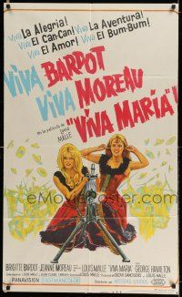 6w398 VIVA MARIA Argentinean '65 Louis Malle, sexiest French babes Brigitte Bardot & Jeanne Moreau!