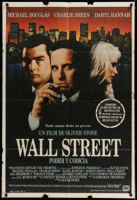 6w400 WALL STREET Argentinean '87 Michael Douglas, Charlie Sheen, Daryl Hannah, Oliver Stone!