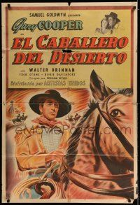 6w402 WESTERNER Argentinean '50s different close up art of cowboy Gary Cooper riding horse!