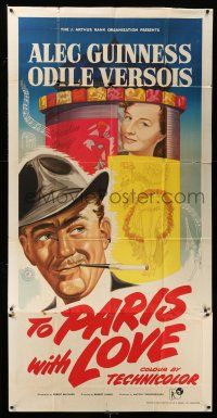 6w014 TO PARIS WITH LOVE English 3sh '55 great stone litho art of Alec Guinness & Odile Versois!