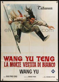 6w733 BLOOD OF THE DRAGON Italian 1p '73 cool Ciriello kung fu art of man with spear in mid air!
