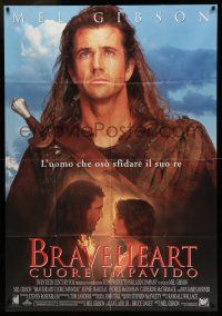 6w737 BRAVEHEART Italian 1p '95 great close up of Mel Gibson & with Sophie Marceau!
